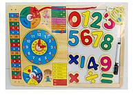 Деревянная развивающая игрушка Календарь-Часы + магнитная досточка с цифрами и маркером