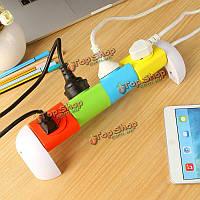 Творческий 360° вращения рабочего стола Модульная розетка 4 полосы розетка с USB портом молнии