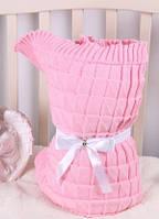 Вязаный конверт на выписку для девочки (розовый)-зима