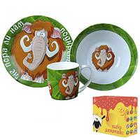 Детский набор посуды из керамики с Мамонтом