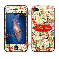 Fashion Mini Рождество набивным рисунком защита экрана для iPhone 4S яблока
