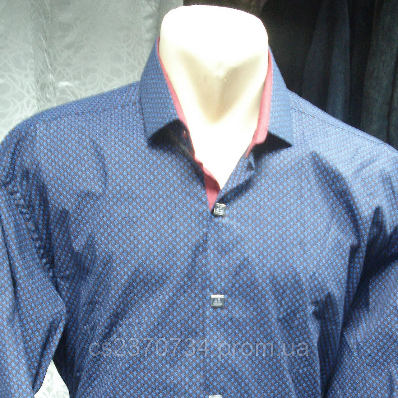 Рубашка мужская Antoni Rossi т-синяя с красной отделкой.(4хл)