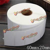 2000шт 40мм x20мм белая бумага с покрытием штрих-код этикетки самоклеящиеся стикеры