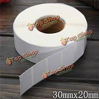 2000шт 30мм x20мм белая бумага с покрытием штрих-код этикетки самоклеящиеся стикеры