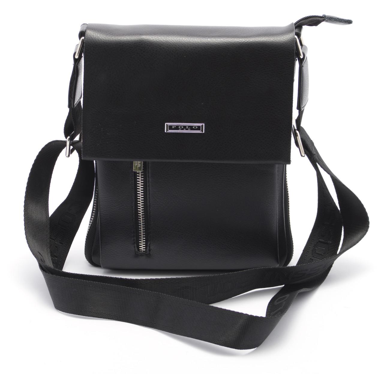 Красивая черная мужская сумка POLO art. 8928-2