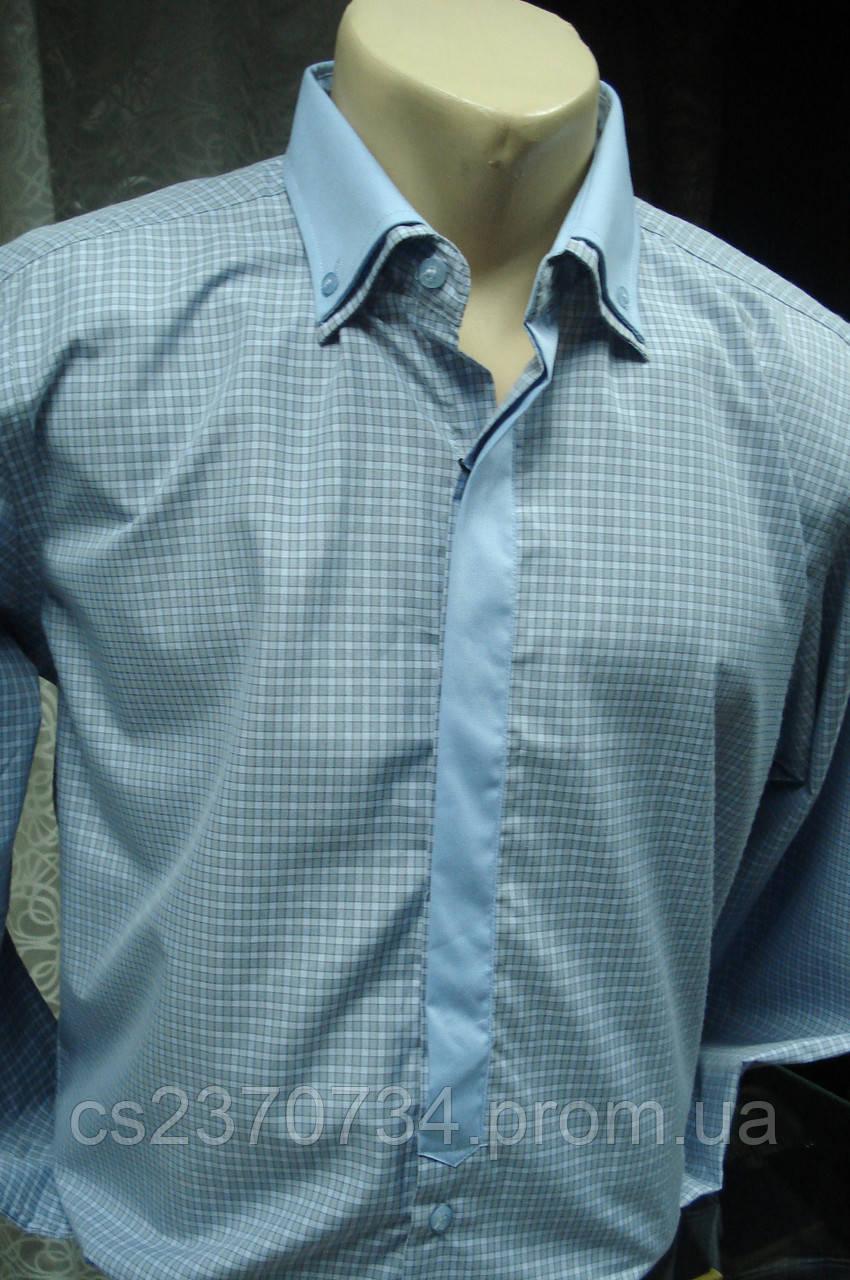 Рубашка мужская Enriko серо-голубая клетка приталенная