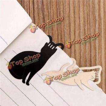9шт Cute Kitty Mini металлические закладки черный лак кошки для книги малышей подарочные канцелярские канцелярские принадлежности