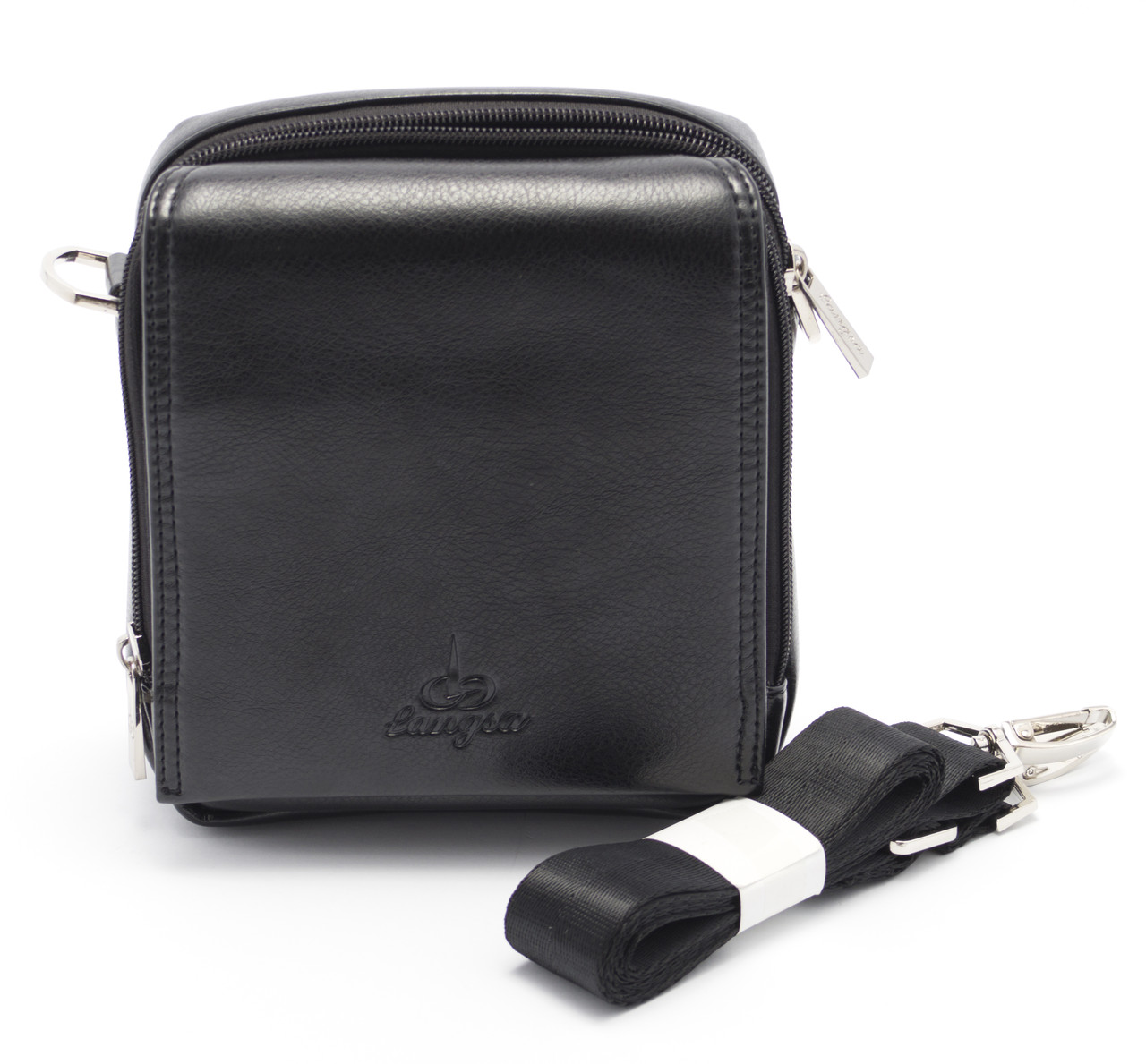 Небольшая мужская черная сумка LANGSA art. 030