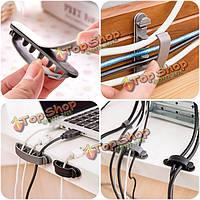 10шт гибкий кабель провод шнур организатор держатель клипа зажим исправления 3-х размеров