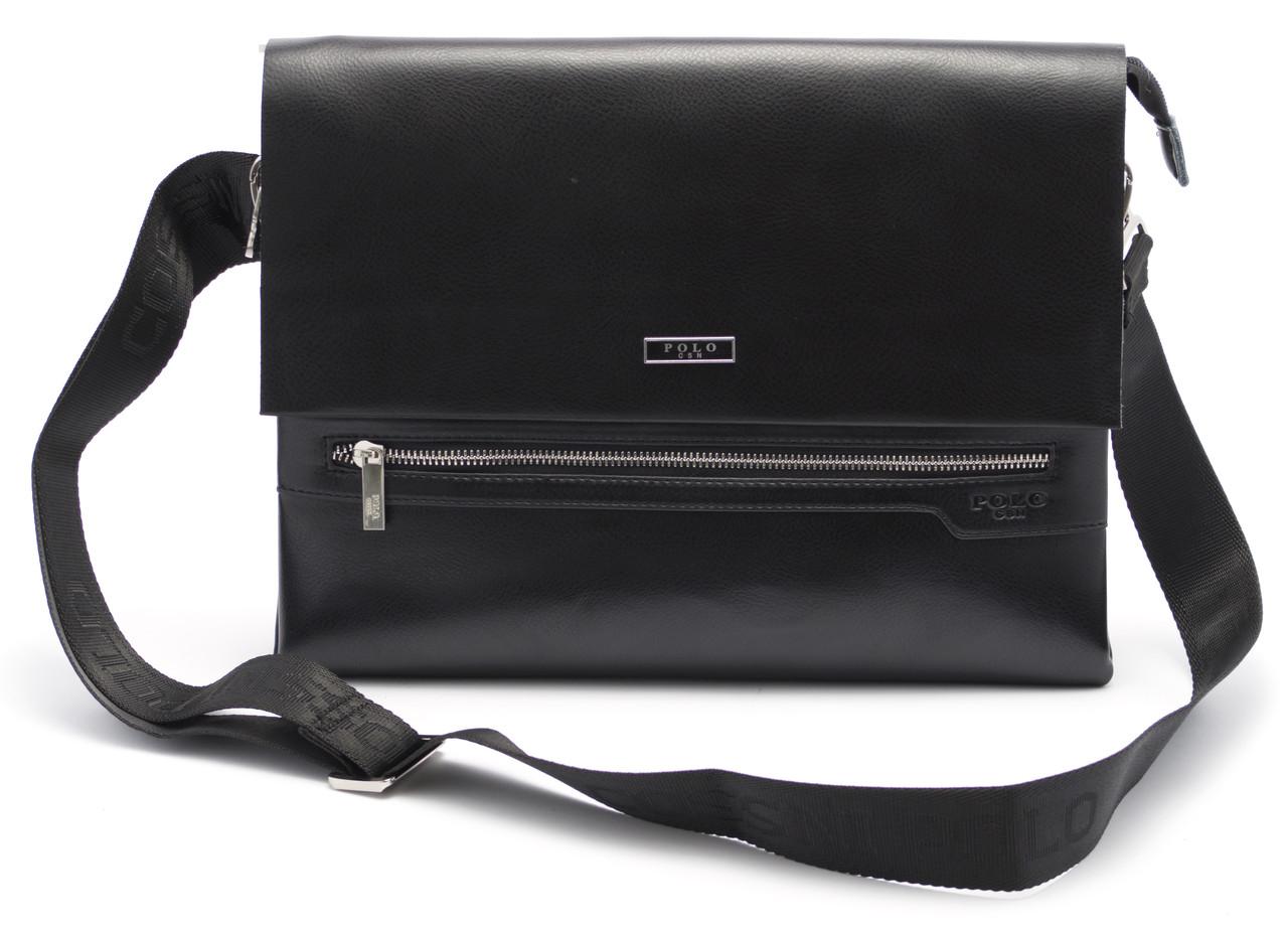 Классная мужская черная сумка POLO art. 6754-6