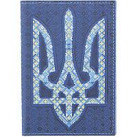 Обкладинка на паспорт з тризубом-вишиванкою синя