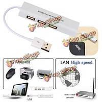 3 портовый USB 2.0 концентратор с RJ45 LAN сетевой карты сетевой адаптер кабель для портативных ПК