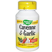 Чеснок и кайенский перец, Cayenne & Garlic, Nature's Way, 530 мг, 100 капсул