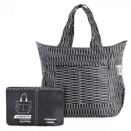 Супер-легкая раскладная сумка на 35 л. Tucano COMPATTO SHOPPER MENDINI BLACK (BPCOSH-MENDINI) черный