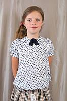 Белая красивая блуза для девочки в школу, р. 134 140 146 152