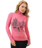 Свитер женский розовый Аппликация 44-48