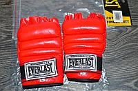 Перчатки боевые Full Contact с эластичным манжетом на липучке Кожа Everlast