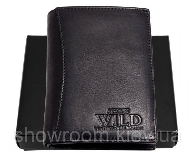 Портмоне вертикальное мужское Always Wild (N890) кожаное черное