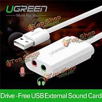 UGreen USB на 3.5мм аудио внешней звуковой карты Micphone адаптер для наушников гарнитуры