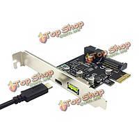 Ithoo PCI-E 1x выразить USB 3.1 Type-C & USB порта двойного 2.4а добавить на адаптер карты расширения для ПК