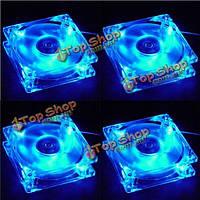 4шт 80x80x25мм синий LED Свет 4-контактный охладитель компьютер корпус вентилятора бесшумным охлаждением