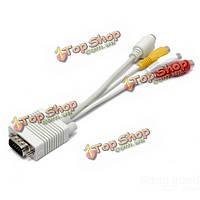 SVGA VGA pc 20см для s видео 3 rca композитный av HD телевидение конвертер адаптер кабель