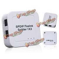 С SPDIF/toslink цифровой аудио оптический сплиттер 1х3(1 в 3 уходит)