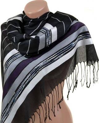 Элегантный женский кашемировый палантин размером 70*180 см Подиум A2992-2 (черно-белый)