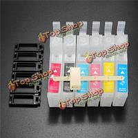 DIY 6 цветов многоразового внутренний картридж для Epson R330 1390 1400 T50 R290 R27