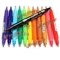 12 цветовой набор мкм ультра тонкой двойной наконечник пера маркером водонепроницаемый
