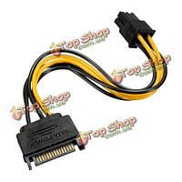 SATA 15 контактов к слотам PCI-E 6-контактный адаптер питания HDD кабель подводящий провод для ПК жесткий диск