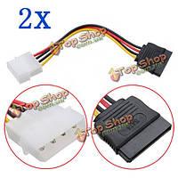 2X 4-контактный Molex язь на 15-контактный интерфейс Serial ATA SATA Кабель питания жесткого диска