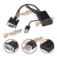 VGA в HDMI выход 1080p HD качестве+аудио ТВ AV HDTV видео кабель преобразователя