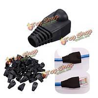 50шт черная голова штепселя крышки багажника для кабеля rj45 cat5/6 модульная сеть соединителя