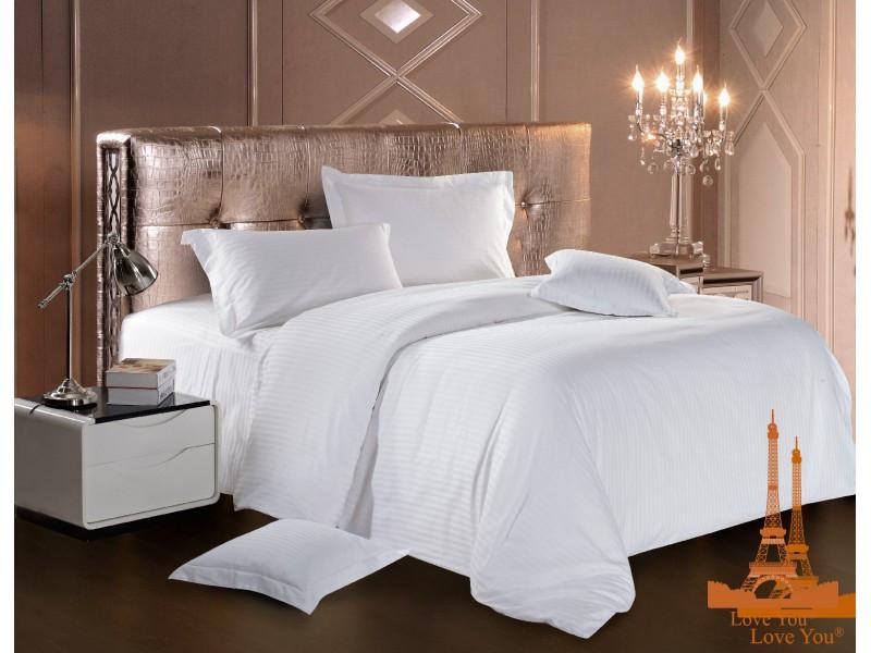 Комплект постельного белья Семейный Love You Страйп-сатин 160Х220 белый
