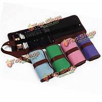 48 отверстий черный холст цветной карандаш хранения пера раскладной сумка сумка пакет мешок обруча