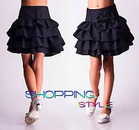"""Школьная юбка черная для девочек ,,оборочка"""""""