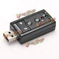 USB к 3D аудио адаптер Звуковая карта виртуального 7.1-канальный