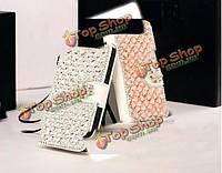 NEW bling Diamond цветок Flip кожаный бумажник обложка чехол для iPhone 6 Plus, фото 1