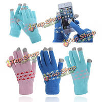 Емкостный сенсорный экран согревания рук вязать перчатки для планшета мобильного телефона