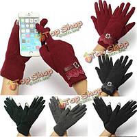Девушки женщин хлопка нажмите сенсорный экран леди теплые кружевные перчатки варежки
