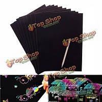 10 листов A4 красочный магия царапины художественная роспись бумаги с рисунком палку