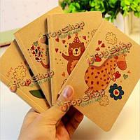 Милые животные покрытия пустых страниц мини карман ноутбук журнал дневник ноутбук