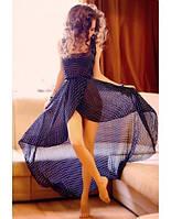 Женское шифоновое платья спереди короче чем сзади в горох