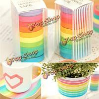 10 рулонов радуги бумажные ленты клейкие наклейки цвет конфеты декоративный для записках
