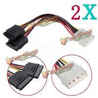 2X4pin Molex язь 2 Serial ATA SATA разветвитель кабель питания жесткого диска
