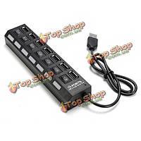 7 портов USB 2.0 LED концентратор высокой скорости обмена переключатель