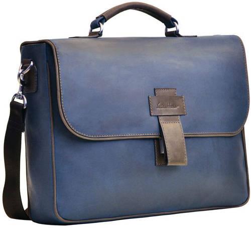 Великолепная кожаная мужская сумка GO-AHEAD MAN ISSA HARA B 20 (33-32), синий