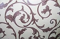 Самоклейка классический орнамент коричневый на молочном фоне 45 см