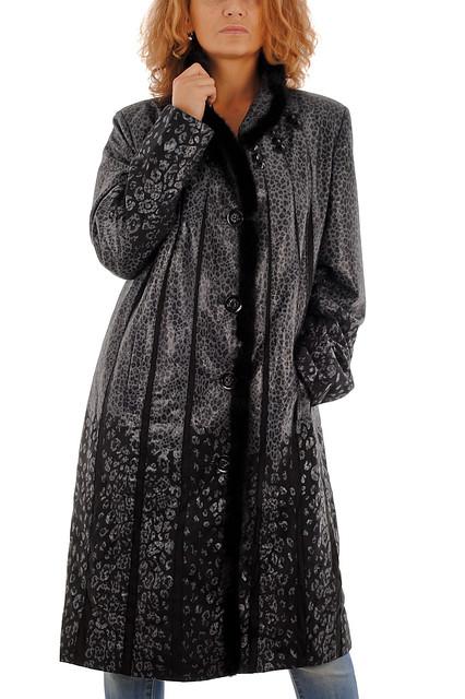Батальное леопардовое пальто из спандекса с лазерным напылением с натуральным мехом норки AROMA ANGEL 62 серый
